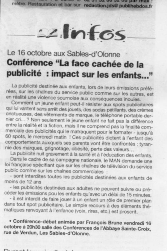 Conférence de François Brune - Télé, pas de pub destinée aux enfants